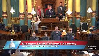 Sen. Nofs welcomes the Michigan Youth ChalleNGe Academy to the Michigan Senate