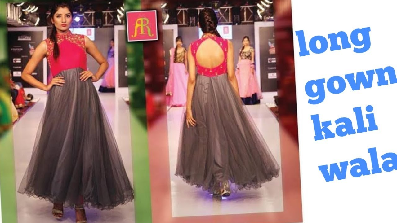 Party Wear Designer Gown Long Dress Floor Touch One Piece Dress Cutting And Stiching Youtube