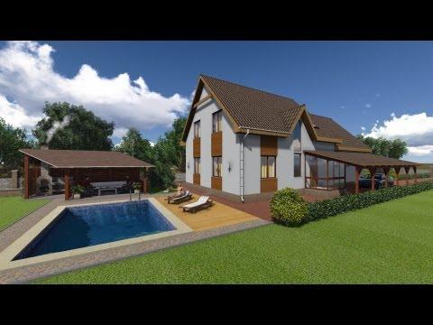 Проект  дома с бассейном и беседкой