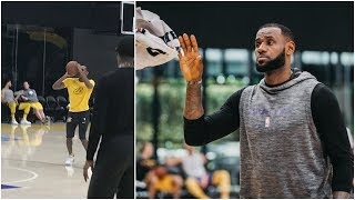 LeBron & Rajon Rondo are back at Lakers practice, working on their shots