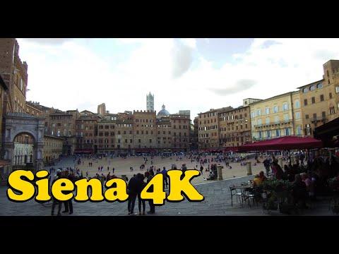 Siena Italy 4K. Piazza Del Campo, Piazza Del Mercato, Duomo Di Siena.