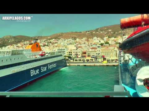 NISSOS MYKONOS - ARRIVAL AND DEPARTURE FROM SYROS PORT
