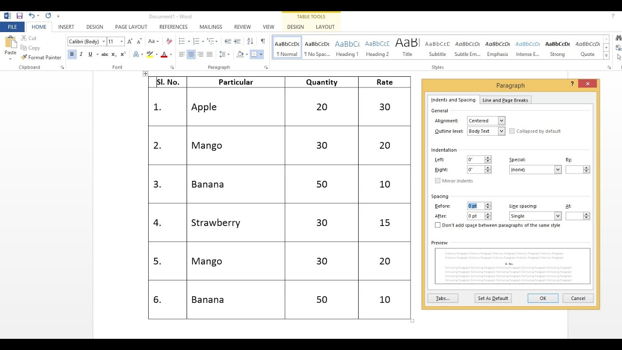 How To Adjust Table Paragraph Line Spacing In Microsoft Word  Youtube