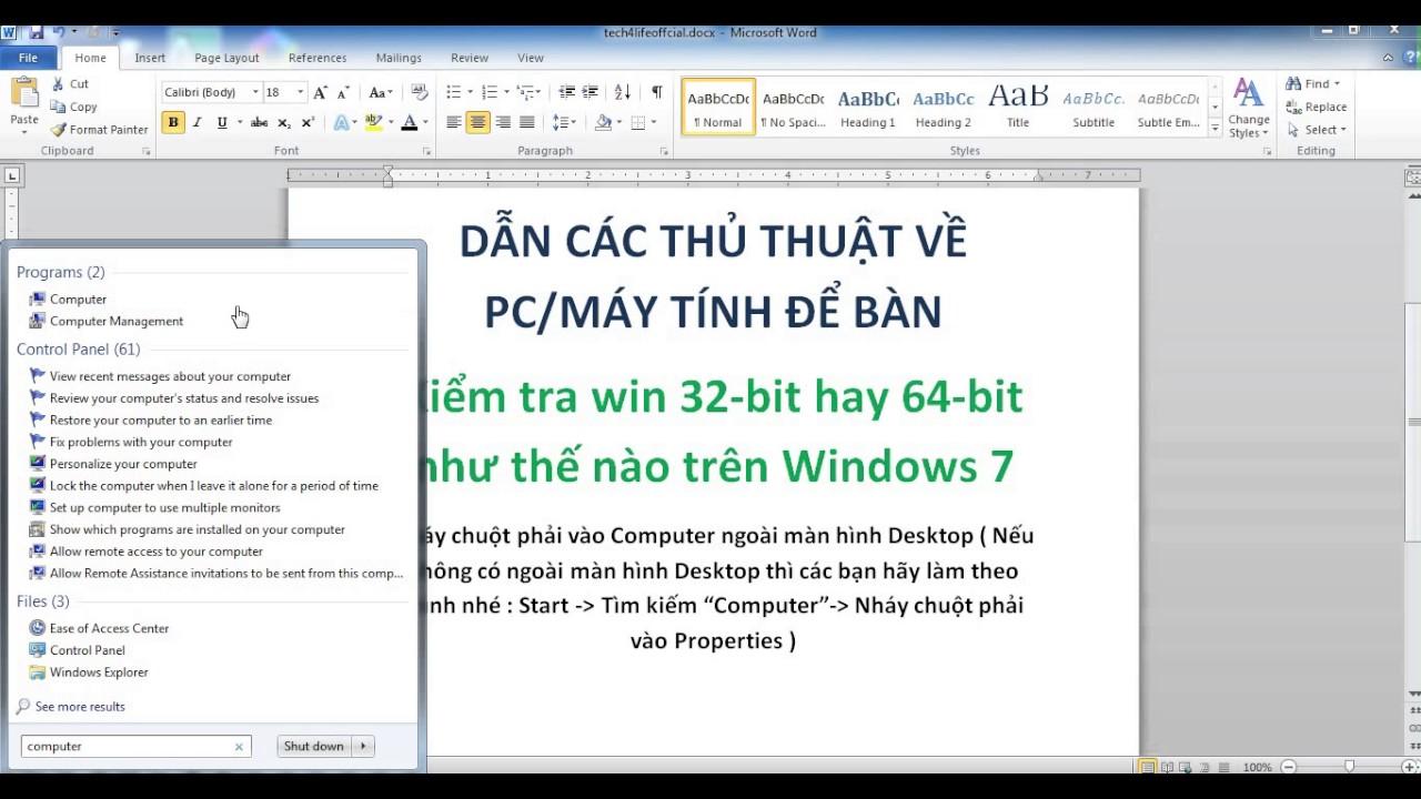 Tech4Life | Kiểm tra win 32-bit hay 64-bit như thế nào trên Windows 7