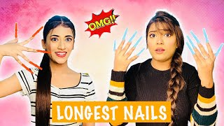 WEARING LONG NAILS FOR 24 HOURS Challenge | Longest Nails Ever Ft. Samreen Ali | Mahjabeen Ali