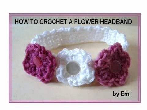 HOW TO CROCHET A FLOWER HEADBAND, any size. - YouTube