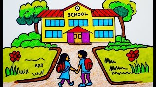 How to Draw scenery | school building | coloring page | Drawing beginners Learning Colors Toddlers