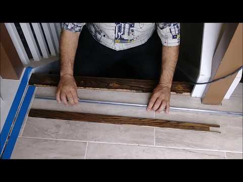 How To Install A Threshold For Tile To Hardwood Transition Step | Tile To Wood Stair Transition | Stair Nose | Flooring | Porcelain | Builder Grade | Threshold