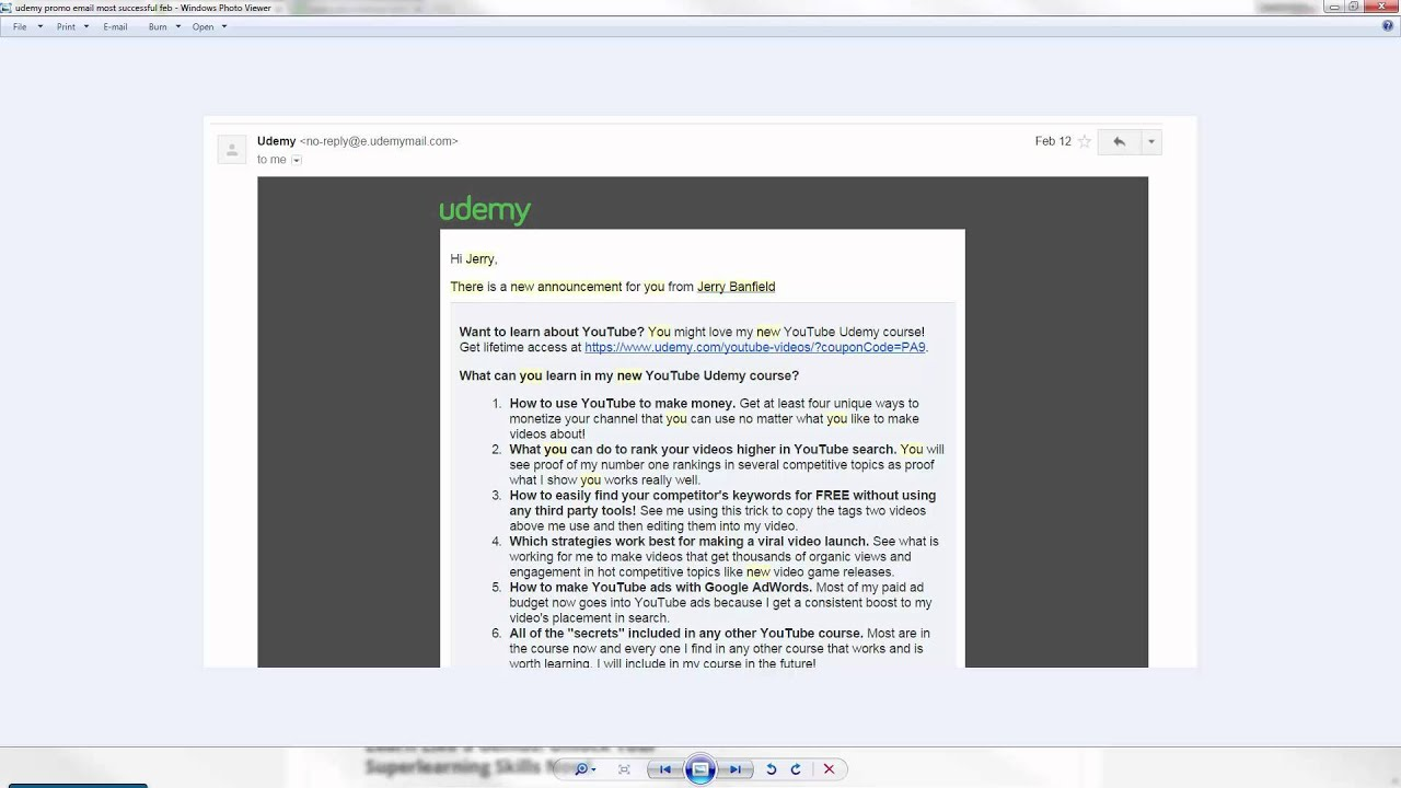 Udemy promotional announcement formula: how to sell with email ...