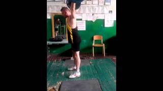 Рывок тяжелая атлетика. 60 кг на 3 раза.