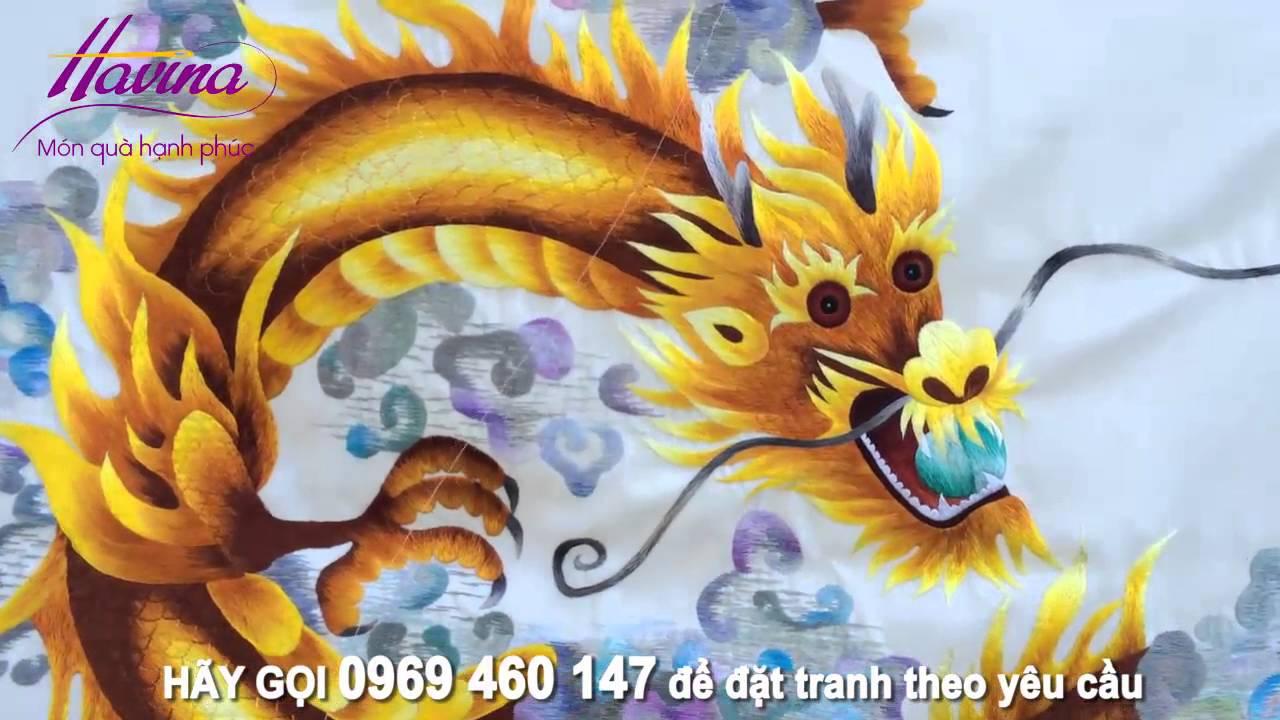 Tranh Thêu Con Rồng Ms 704 – Tranh Thêu Treo Phòng Thờ -Tranh Thêu Phong Thủy