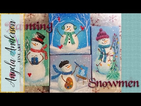 Easy Snowman Ornaments   Acrylic Painting Tutorial   Free Live Event