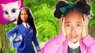 Talking ANGELA TRANSFORME MAMAN en POUPÉE Barbie girl ! Verity Kid Pretend Play