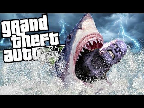 THANOS VS THE SUPER SHARK ATTACK MOD (GTA 5 PC Mods Gameplay)