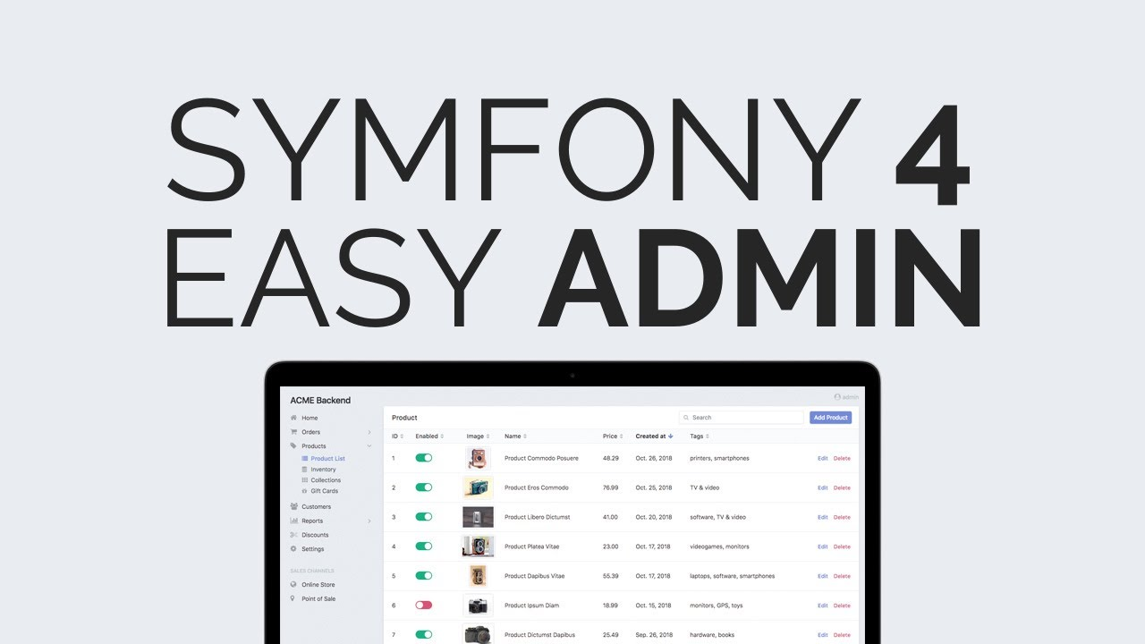 Simple admin bundle in Symfony 4