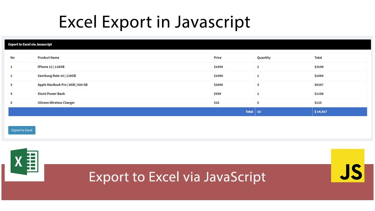 Export Data to Excel in Javascript
