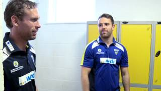 Richie Myler And Brett Hodgson Show Tetley's Around Warrington Wolves Training Ground