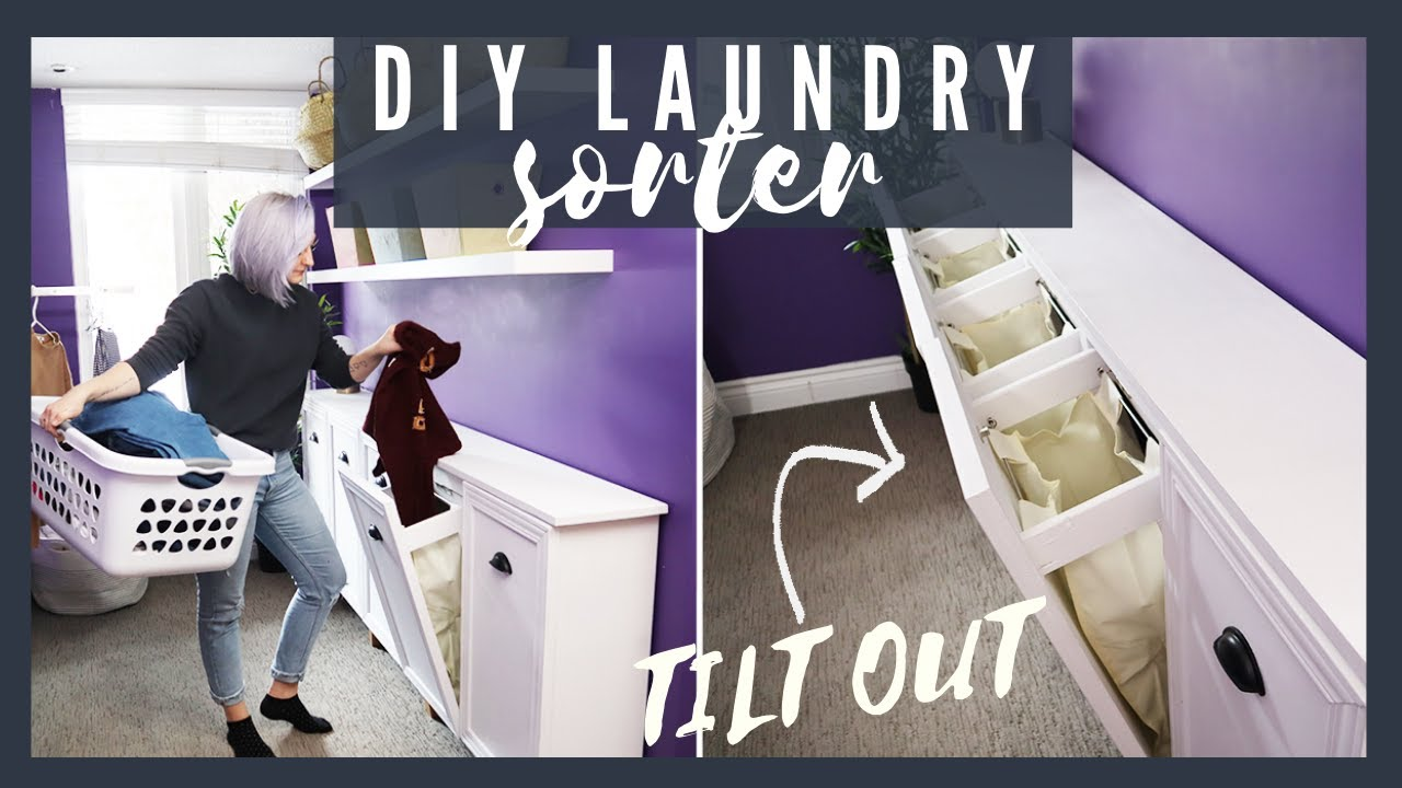 Beautiful Diy Tilt Out Laundry, Laundry Hamper Cabinet Diy