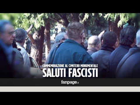 Commemorazione fascista al Monumentale di Milano: braccia tese per gli squadristi