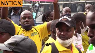 Tuskys staff in Nairobi and Kisii stage demos
