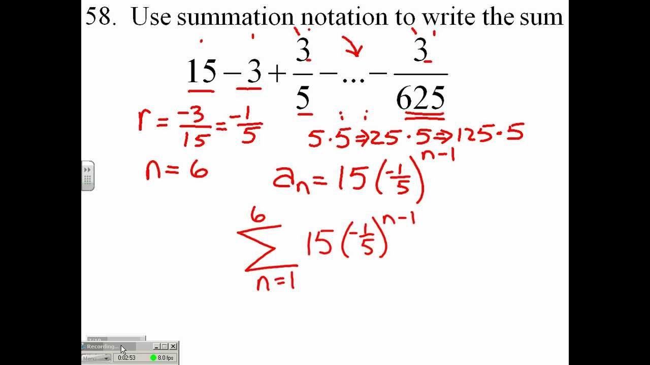 Use Summation Notation to write a sum of a Geometric Sequence 223.23.5223