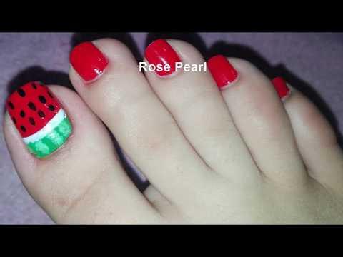 Watermelon  Pedicure Nail Art Tutorial- Toe Nail Art Design | Rose Pearl thumbnail