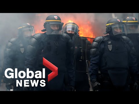 French police, protesters clash in nationwide strike against pension reform plans
