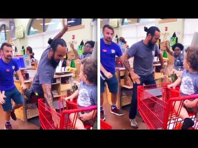 Mom records Trader Joe's employees dancing for her toddler having tantrum at checkout