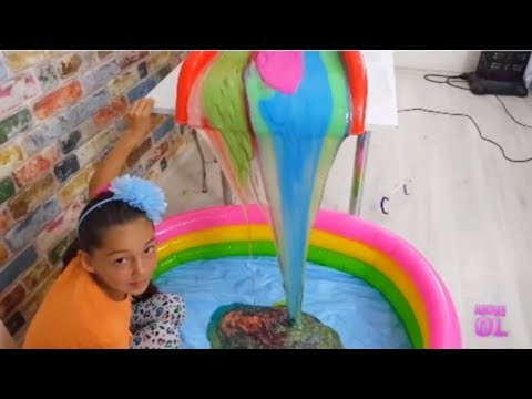 Slime Şelalesi slime waterfall 60 kilos to the pool from the slide, Fun Kid Video by Oyuncax