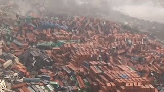 Tianjin aerial: New blasts, deadly sodium cyanide confirmed in the area