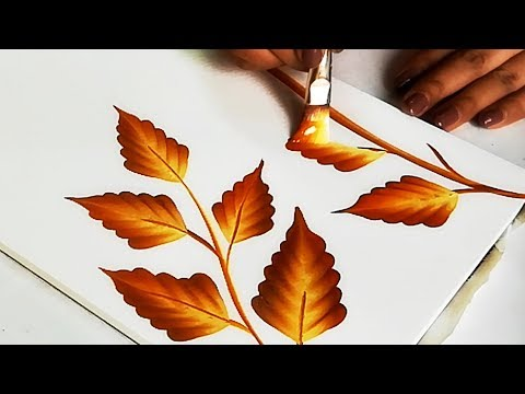LEARN How To Practice ONE STROKE LEAVES Design | Easy Tips For BEGINNERS | Shaded Leaves Design