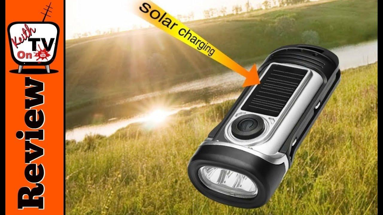 Camping Solar Powered 3 LED Flashlight Torch Hand Crank  Emergency Light NEW //