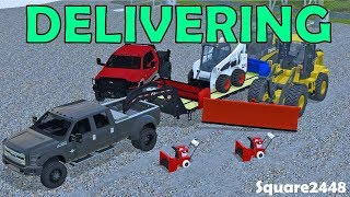 Farming Simulator 17   Delivering Snow Blowers, Skidsteers With Blades & Loader
