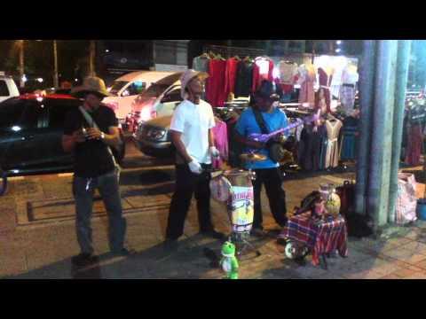 Bangkok Electric Folk Band - street busking on Asoke