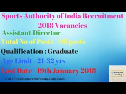 Latest Govt Jobs 2018 | Sports Authority of India Recruitment 2018 | Notification