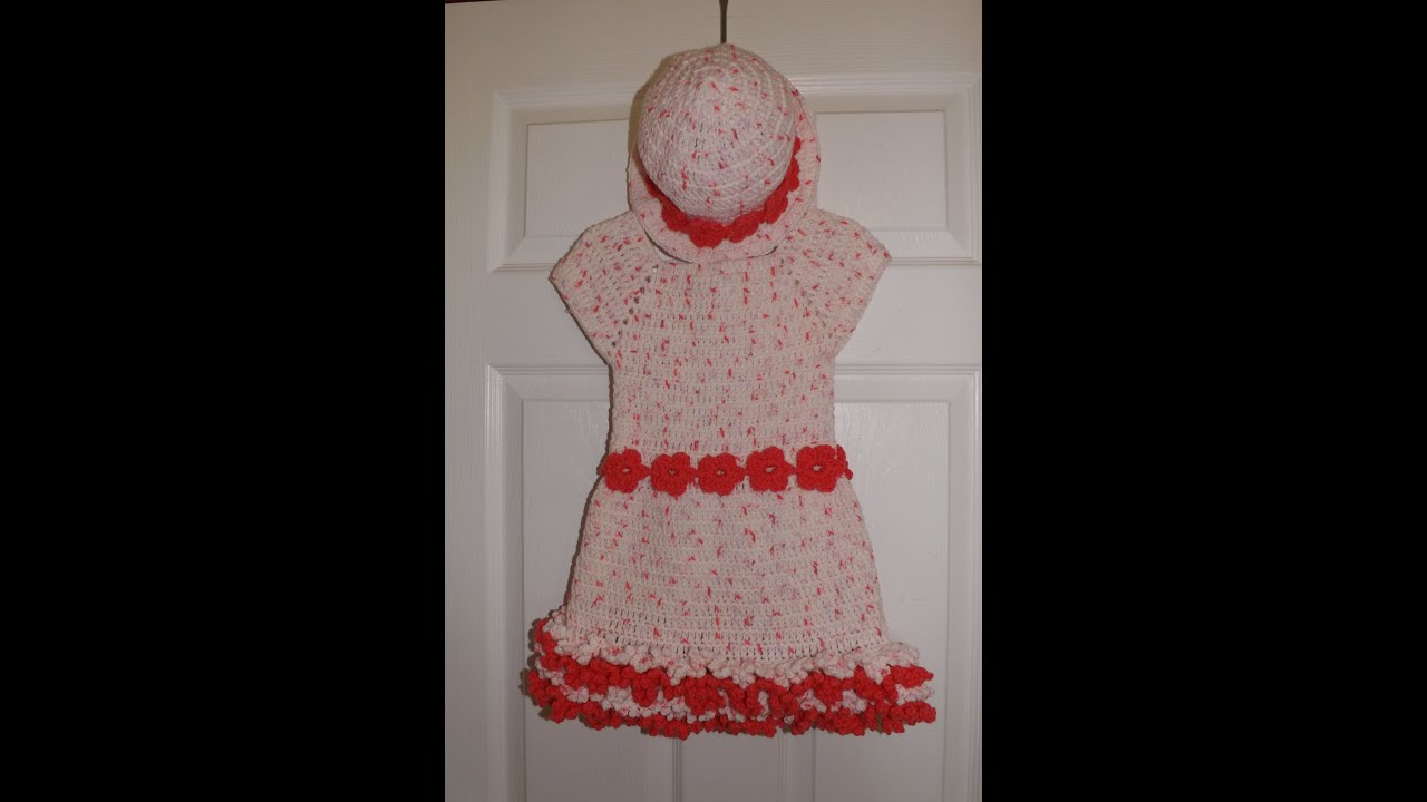 Crochet girl s dress from 3 to 6 years old set with the hat with