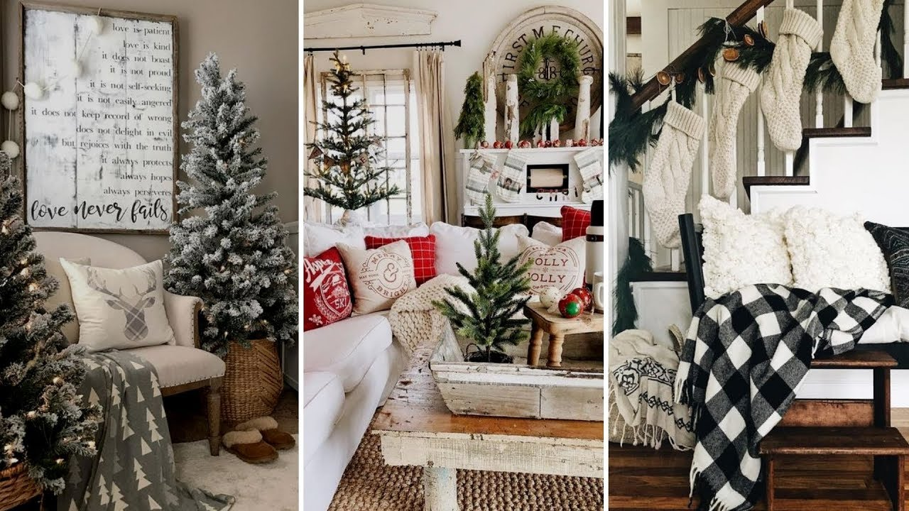 DIY Rustic Farmhouse style Christmas living room decor ...