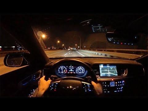 2018 Genesis G80 3.3T Sport RWD POV Night Driving Impressions Binaural Audio