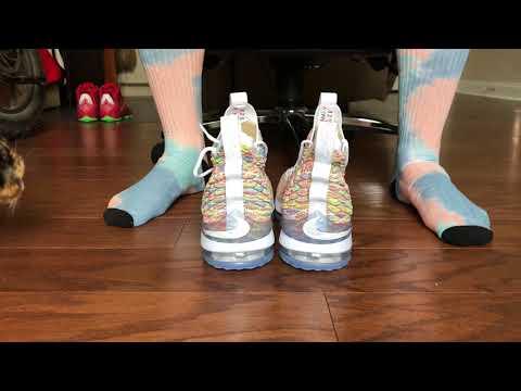 pretty nice 8ff6e cd65e Lebron 15 Fruity Pebbles On Foot! - YouTube