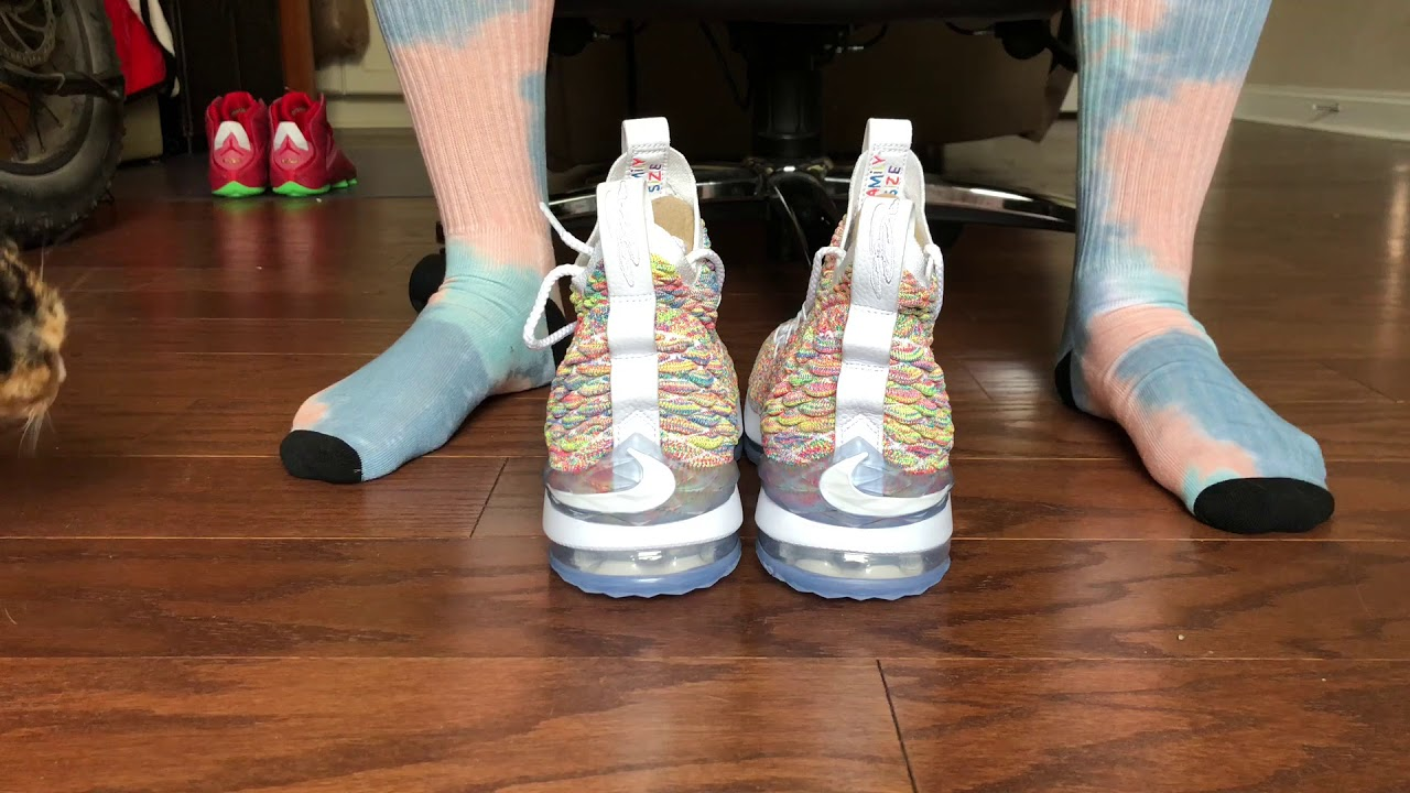 3e2ca683e45f Lebron 15 Fruity Pebbles On Foot! - YouTube