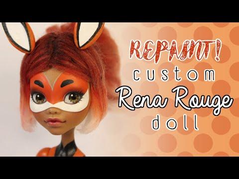 Repaint! Custom Rena Rouge Doll | OOAK Monster High Clawdeen + EAH Fusion