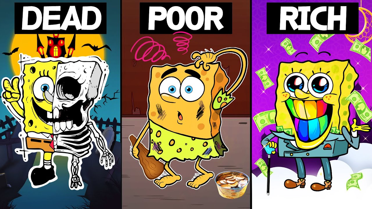 Download Triplets Separated At Birth   DEAD, POOR, RICH   Poor SpongeBob Life Animation -Sad Story- SLIME CAT