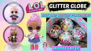 LOL Surprise Glitter Globe Winter Disco Full Box Placement Middle Layer Unboxing and Weight Hacks
