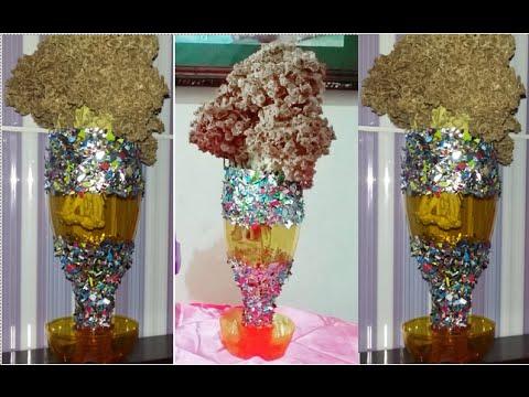 Diy Flower Vase From Plastic Bottles And Snack Packs Cara Embuat