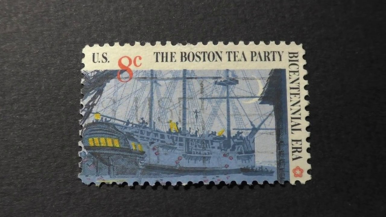 Postage Stamp USA The Boston Tea Party Bicentennial Era 2 4 Price 8 Cents
