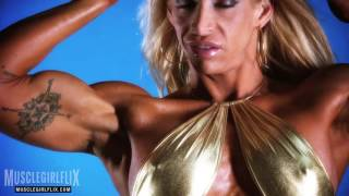 Female Bodybuilder Jill Jaxen Flexing Her Thick Biceps