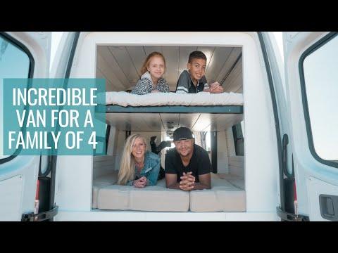 FAMILY VAN TOUR: Incredible Bunk Bed System & Full Bathroom   4x4 Sprinter Van Conversion