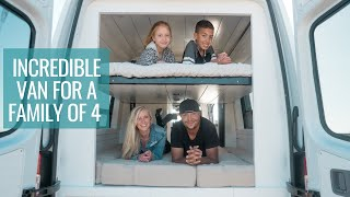 FAMILY VAN TOUR: Incredible Bunk Bed System & Full Bathroom | 4x4 Sprinter Van Conversion