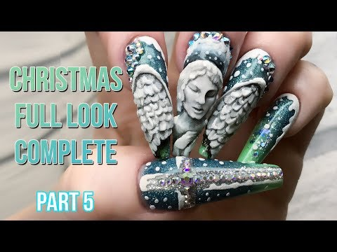 Christmas Nail Design - Full Look Part 5 - Acrylic Angel Wings - Finished Design -  Naio Nails