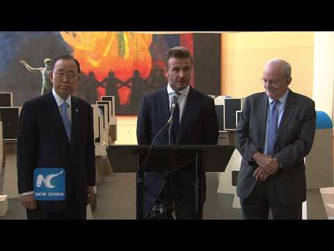 David Beckham brings voices of children to UN General Assembly